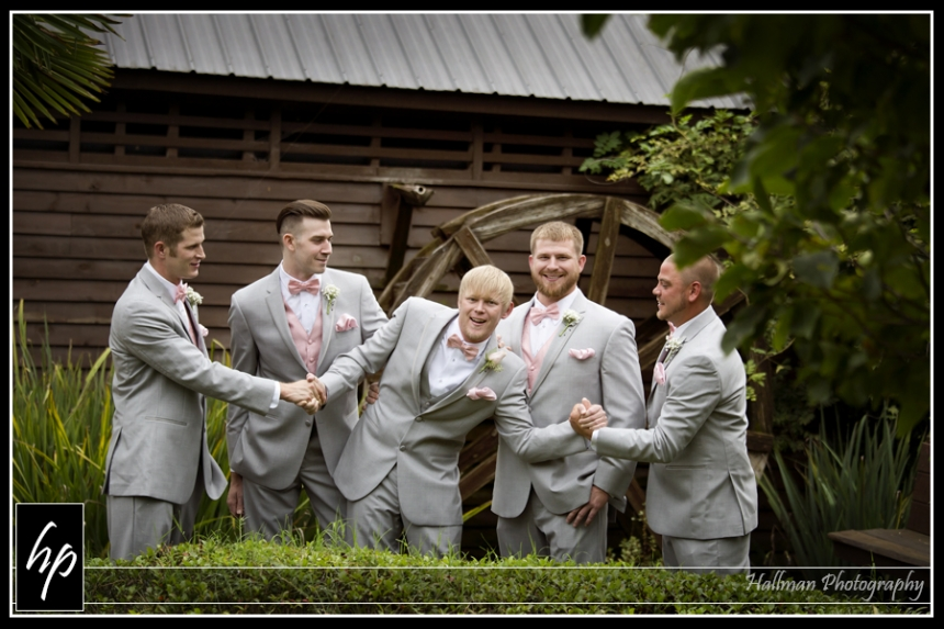 groom and groomsmen at Corley Mill House in Lexington SC