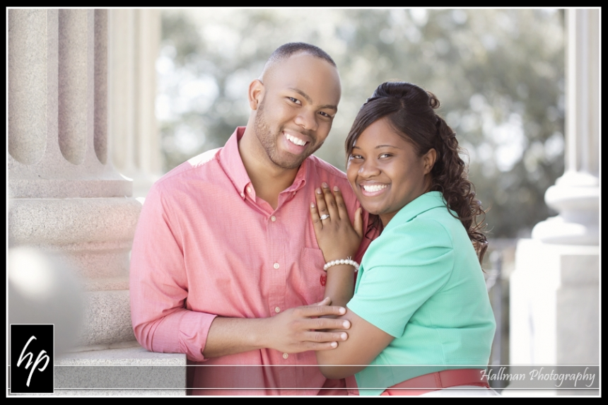 Couple at SC Statehouse for their engagement session